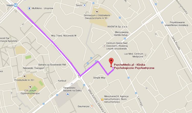 Mapa dojścia pieszo do PsychoMedic.pl