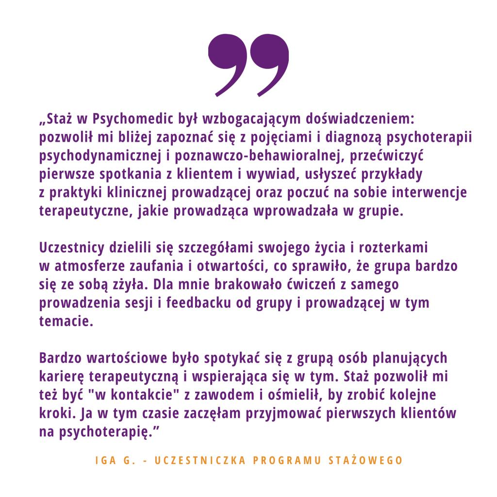 Opinia o stażu w PsychoMedic Iga