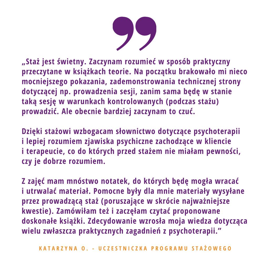 Opinia o stażu w PsychoMedic Kasia